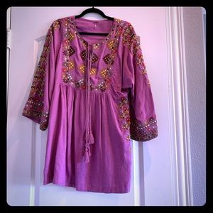 Free People Purple embroidered tunic